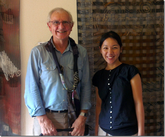 Master batik artist Tony Dyer with a young Japanese textile student at the Semarang International Batik Festival in May 2013
